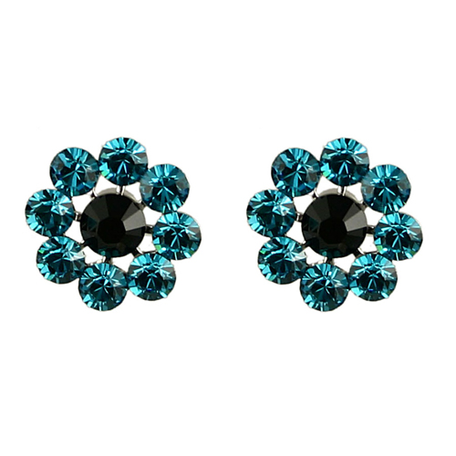 Tarina Tarantino Crystal Flower Earrings - Blue Zircon and Jet