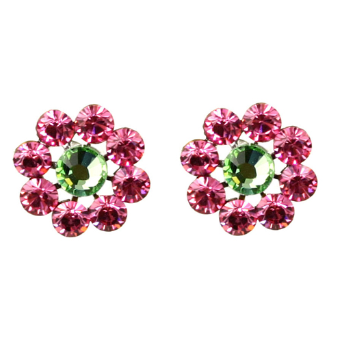Tarina Tarantino Crystal Flower Earrings - Pink Rose and Peridot
