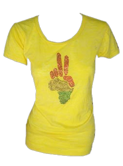 Brokedown Omni Peace Crystal Burn Out Tee- Yellow