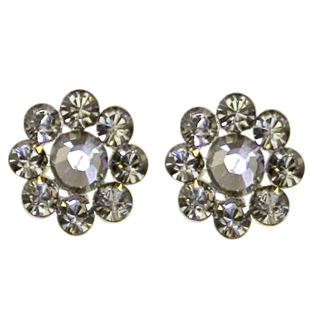 Tarina Tarantino Crystal Flower Earrings- Black Diamond