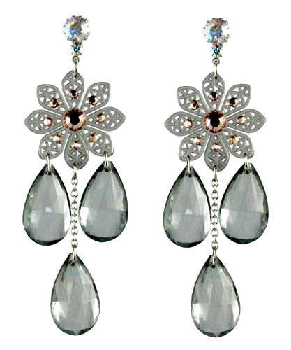 Tarina Tarantino Paisley Peacock Chandelier Earrings