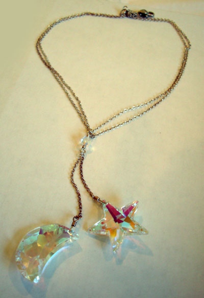 Swarovski Crystal Moon and Star Necklace