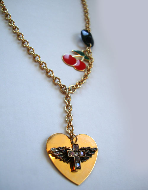 Cross Heart with Cherry Necklace