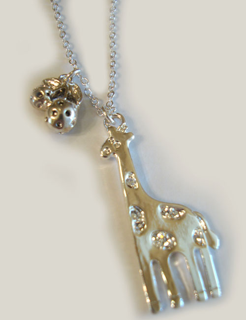 Spotted Giraffe with Strawberries Necklace **SOLD OUT**