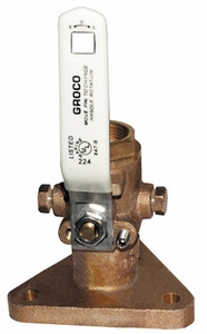 "Groco Full-Flow Flanged Ball-Type Seacock, 1-1/2"" FBV-1500"