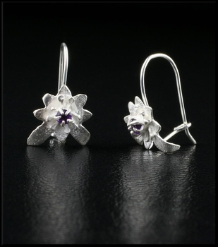 Petite Sterling Silver Flower Earrings with Amethyst