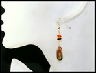 River Stone and Amber Earrings