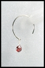 Sterling Silver and Garnet Open Hoop Earrings