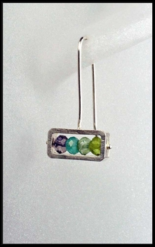 Sterling Silver Frame Gemstone Earrings in Blue Green