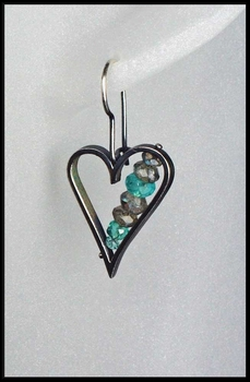 Labradorite and Blue Topaz Heart Earrings