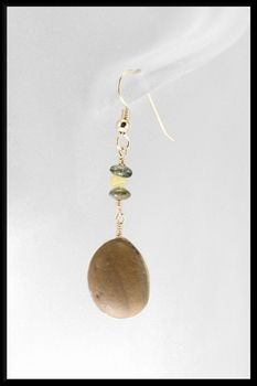 River Stone Tourmaline & Amber Earrings