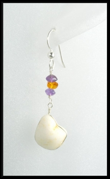 River Stone Amethyst and Amber Earrings