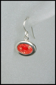 Terrazzo Oval Drop Earrings in Red