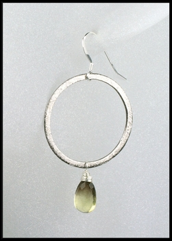 Smokey Lemon Quartz Oxidized Sterling Silver Circle Earrings