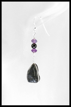 River Stone Amethyst and Onyx Earrings