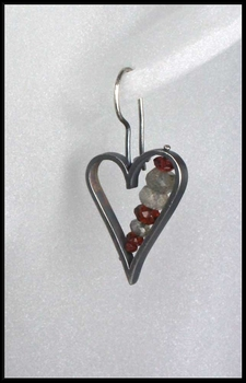 Labradorite and Garnet Heart Earrings