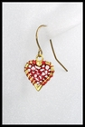 Heart Earrings in Red Yarn
