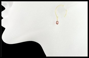 Garnet Open Hoop Earrings in 18K Gold Vermeil