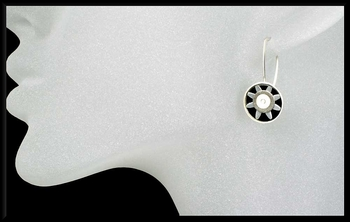 Anodized Aluminum Sunburst Earrings in Silver