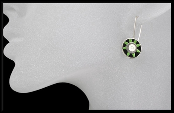 Anodized Aluminum Sunburst Earrings in Green