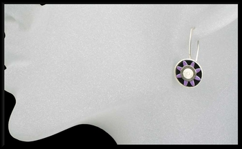 Anodized Aluminum Sunburst Earrings in Purple