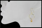 Citrine Circle Drop Earrings