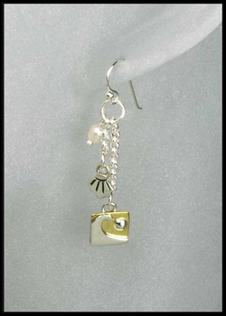 Mixed Metal Seashore Charm Earrings