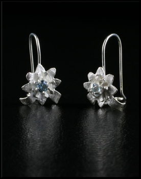 Petite Sterling Silver Flower Earrings with Aquamarine