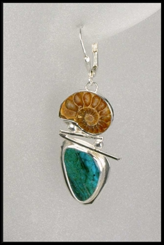 Ammonite and Chrysocolla Leverback Earrings