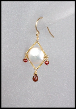 Coin Pearl and Garnet Diamond Chain Earrings
