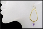 Amethyst Tear Drop Hoop Earrings  in Gold Vermeil
