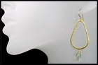 Prasiolite Tear Drop Hoop Earrings  in Gold Vermeil
