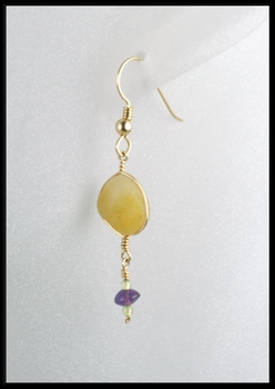 Beach Stone Peridot and Amethyst Drop Earrings