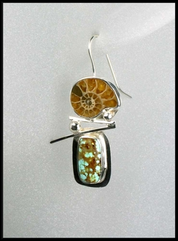Ammonite and Number 8 Turquoise Hanging Earrings