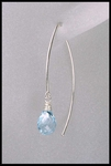 Blue Topaz Open Thread Hoop Earrings