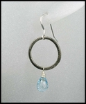 Blue Topaz Oxidized Sterling Silver Circle Earrings