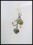 Pyrite and Heart Charm Dangle Earrings