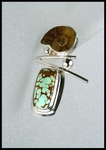 Ammonite and Number 8 Mine Turquoise Post Earrings