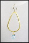 Blue Topaz Tear Drop Hoop Earrings  in Gold Vermeil