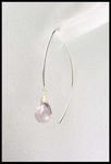 Pink Amethyst Open Thread Hoop Earrings