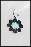 Oxidized Silver and Turquoise Flower Earrings