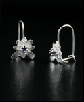 Petite Sterling Silver Flower Earrings with Iolite