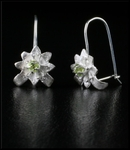Petite Sterling Silver Flower Earrings with Peridot