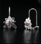 Petite Sterling Silver Flower Earrings with Pink Tourmaline