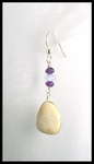 Beach Stone Chalcedony and Amethyst bead Earrings