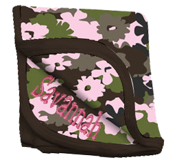 Camouflage Baby Receiving Blanket Pink Flower Camo Personalize Me