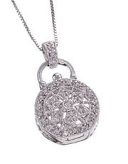 14K White Gold Diamond Locket