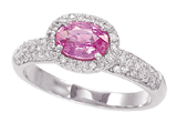 3/4 Carat 14K White Gold  Pink Tourmaline and Diamond Ring