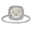 Cushion Cut White Topaz Diamond Ring White Gold
