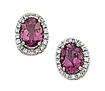 14K White Gold Diamond 1.60 ct Pink Tourmaline Post-Back Earrings
